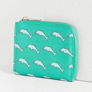 4/$25 Urban Outfitters Green Dolphin Mini Wallet